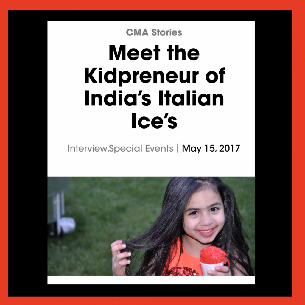 Kidpreneur India Jolie girl with long hair holding a cherry italian ice