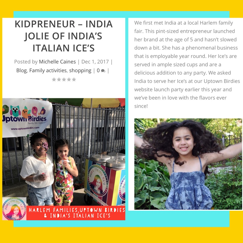 Kidpreneur Article India Jolie India;s Italian Ices and Uptown Birdies Two girls eating Ices and India Jolie jumping in the air