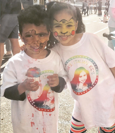 kidpreneur-inidia-jolie-Indias-Italian-Ices-Rainbow-Italian-Ice-Pokemon-face-paint-childrens-museum-arts-block-party-cute-mess