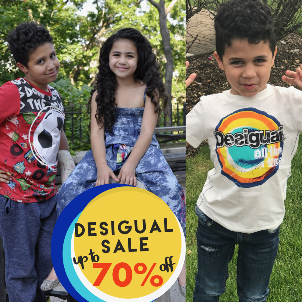 3 kids wearing Desigual clothes 2 boys with a girl in the middle Desigual sale 70% off