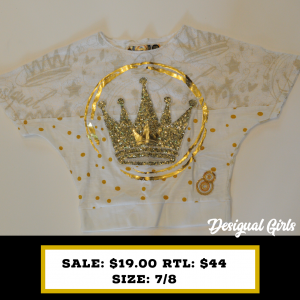 Desigual Kids size 7/8 Golden Glitter Crown Tshirt with embroidery