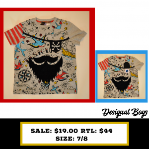 Desigual Kids 7/8 pirate tshirt grey with red/blue/yellow print, beard and open/close patch